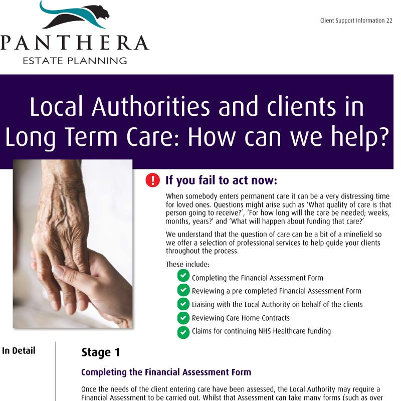 Local Authorities and clients in Long Term Care: How can we help?